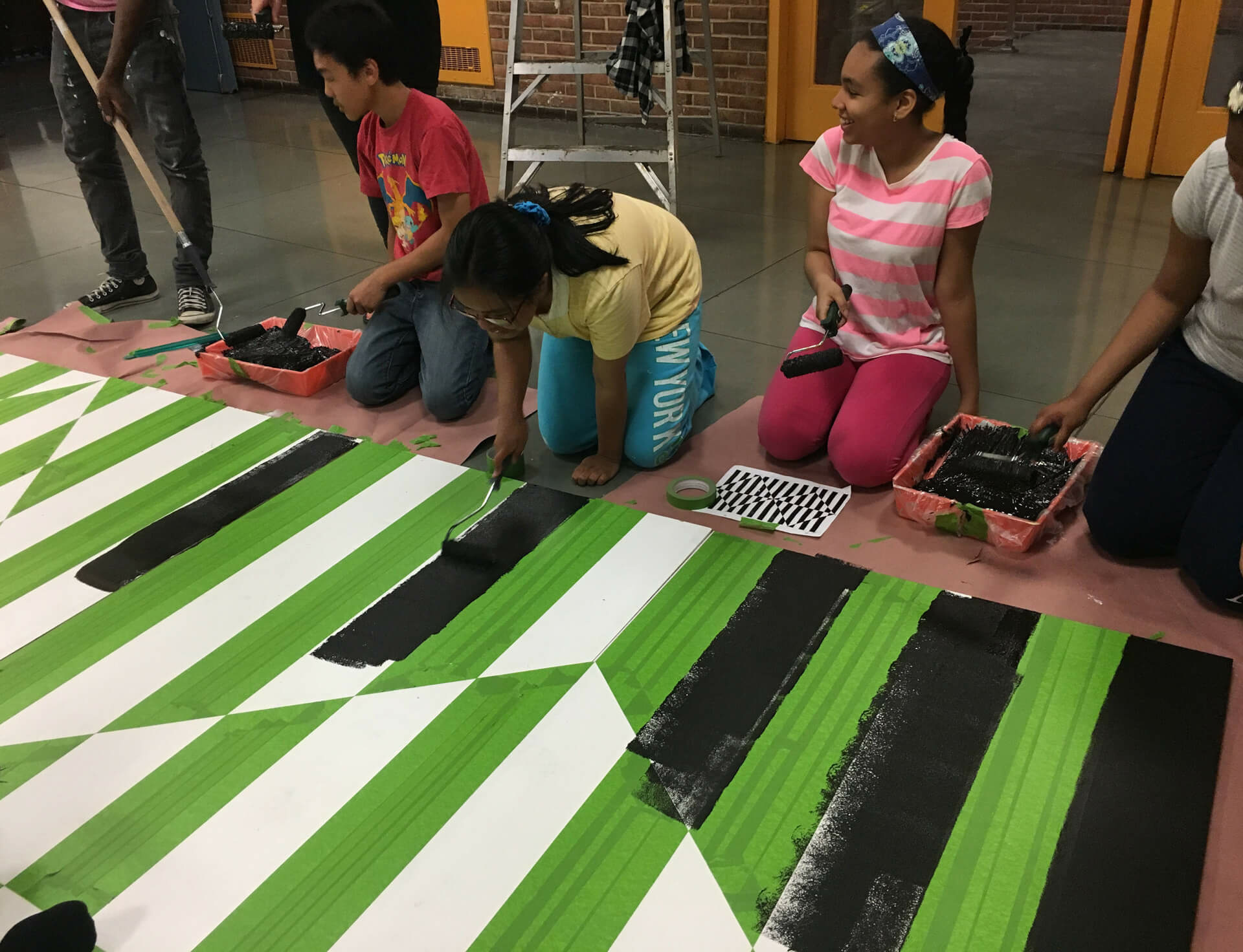 Mural designed by Carmen Herrera painted by Bronx school students