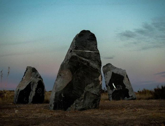 Haroon Mirza's outdoor sculpture 'stone circle' opens at Ballroom Marfa