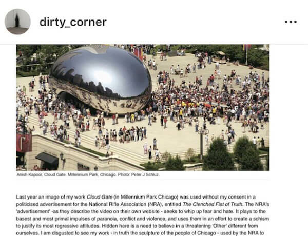 Anish Kapoor statement on victory over NRA use of imagery