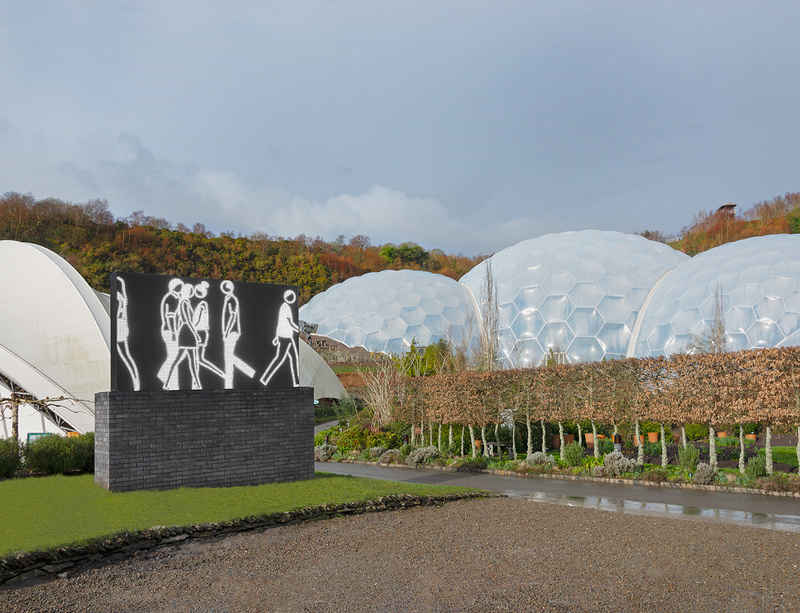 Julian Opie unveils installation at The Eden Project in Cornwall