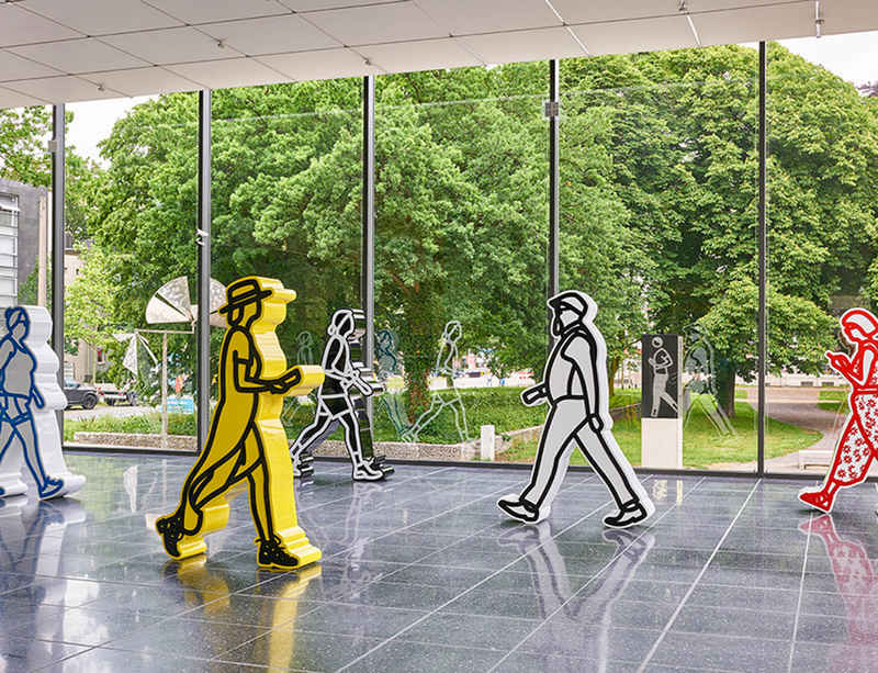 Julian Opie's 'Walking Figures' on view at the Lehmbruck Museum in Duisberg