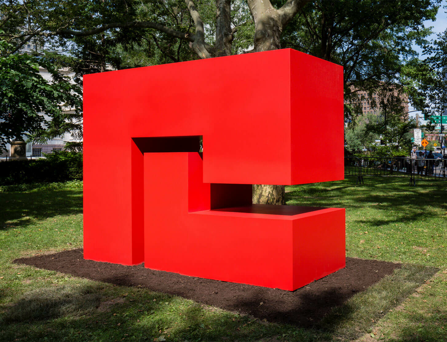 Watch now: Carmen Herrera's Public Art Fund Commission at City Hall Park, NYC