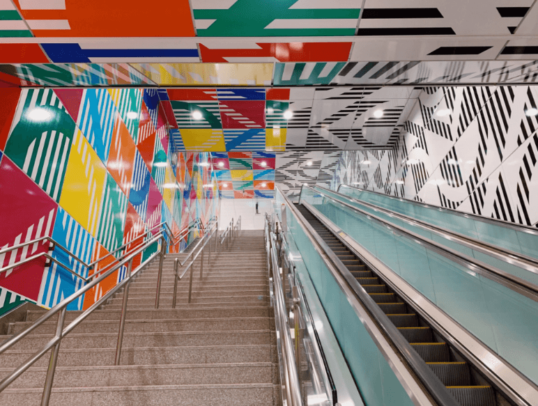 Permanent installation by Daniel Buren debuts in Taipei metro station