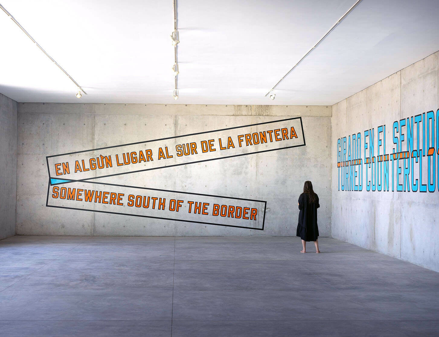 Site-specific works by Lawrence Weiner on view at Casa Wabi in Mexico