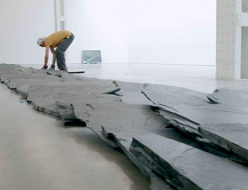 Watch now: Richard Long installs FROM A ROLLING STONE TO NOW at Lisson Gallery