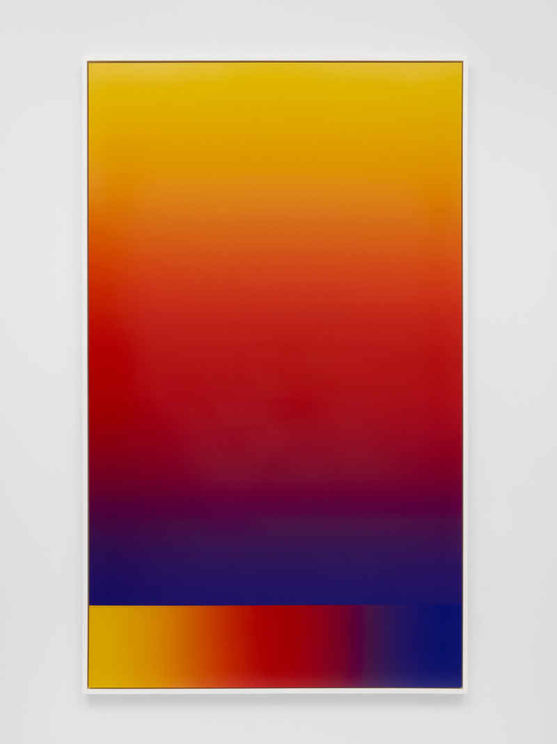 """Photoshop CS: 84 by 50 inches, 300 DPI, RGB, square pixels, default gradient """"Blue, Red, Yellow"""", mousedown y=23400 x=7500, mouseup y=600 x=7500; tool """"Wand"""", select y=23000 x=7320, tolerance=32, contiguous=off; default gradient """"Blue, Red, Yellow"""", 2015"""