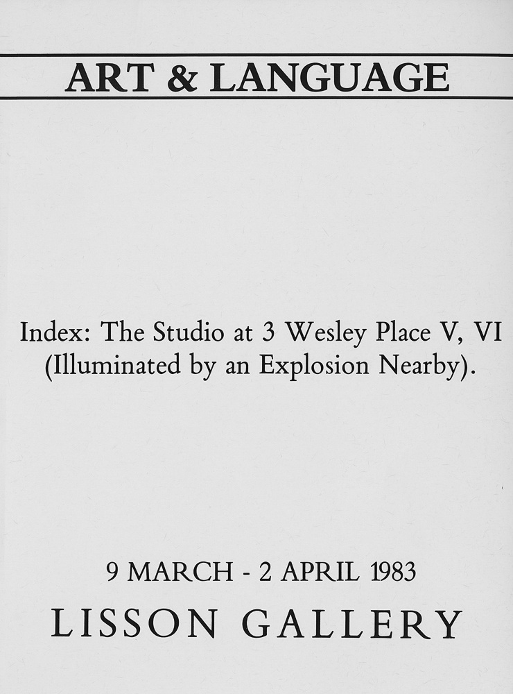 Art & Language: Drawings and Models Index: The Studio at 3 Wesley Place V, VI (Illuminated by an Explosion Nearby)